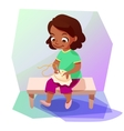 African american girl doing a cross stitching vector image