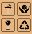 set of fragile symbols vector image