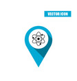 blue map pin with atom icon isolated on white vector image