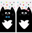 black cat kitty family holding empty heart shape vector image