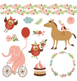 cute animals and graphic elements vector image vector image