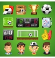 Realistic Icons Set on the Theme of Soccer vector image