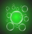 Abstract background with green glossy bubble vector image