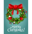 Christmas wreath with red berry and bow vector image