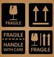 Fragile shipping label of Black symbol design on vector image