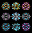 ornament mandala on black background vector image