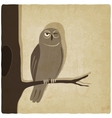owl on branch old background vector image