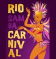 poster brazilian samba dancer carnival in vector image