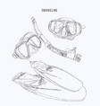 snorkeling equipment fin diving mask with tube vector image