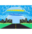 UFO spaceship and big night city vector image