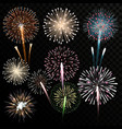 Big set of isolated fireworks vector image