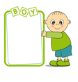 Baby boy with a frame vector image