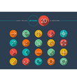Arrow flat icons line style set vector image