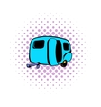 Camping trailer icon comics style vector image