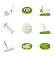 golf competition icons set cartoon style vector image
