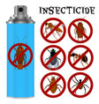 insecticides set in flat style vector image