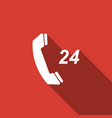 telephone 24 hours support icon with long shadow vector image