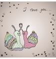Two snails in love vector image