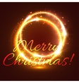 Glowing frame with shining swirl Xmas card design vector image