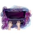 computer and hands vector image vector image
