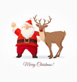 christmas card funny cartoon santa claus and vector image