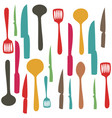 colorful set pattern of kitchen utensils vector image
