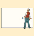 man and repair drill hammer copy space vector image