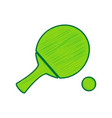 ping pong paddle with ball lemon scribble vector image