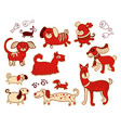 set of cute childish dog vector image