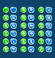 set with shiny green and blue interface buttons vector image