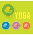 Yoga or fitness flat logo with mat vector image