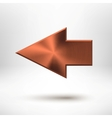 Left Arrow Sign with Bronze Metal Texture vector image vector image