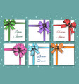 gift cards with bow and ribbon set vector image