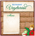 vegetarian menu on wood background vector image vector image