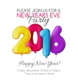 Invitation to New Year party with color balloons vector image