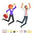 business characters jumping from success vector image