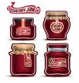 cherry jam in glass jars vector image