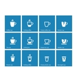 Coffee cup icons on blue background vector image