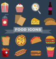 Food Snacks Icon Set vector image