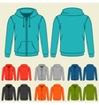 Set of colored hoodies templates for men vector image