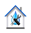 House and plumbing service tools icon isolated on vector image