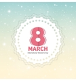 Women s Day Greeting Card 8 March in Retro Vintage vector image