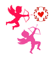 Cupids take aim isolated on white vector image vector image