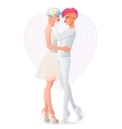 Beautiful wedding gay lesbian homosexual hugging vector image