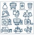 garbage or wastes trash line icons set vector image