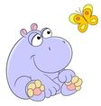 lovely cartoon hippopotamus and butterfly vector image