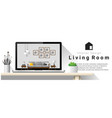 modern living room interior design background vector image
