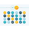 Web flat icons outline style set vector image