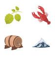 alps a barrel of beer lobster hops oktoberfest vector image