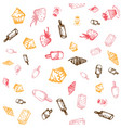 Food hand-drawn sketch line icons seamless pattern vector image